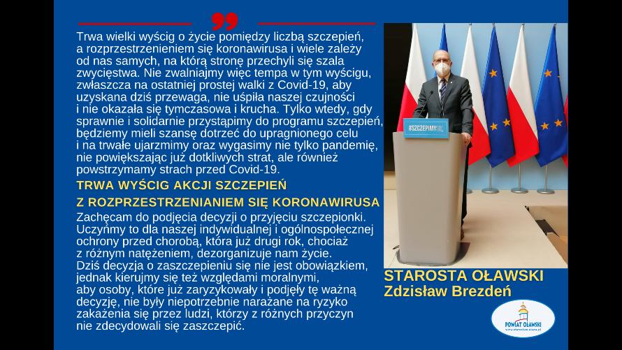 Apel Starosty Oławskiego dot. udziału w akcji szczepień.