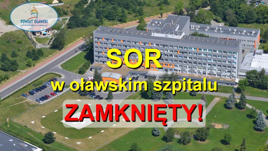 """Na zdjęciu widzimy oławski szpital z lotu ptaka. Na fotografii napis """"SOR w oławskim szpitalu zamknięty""""."""