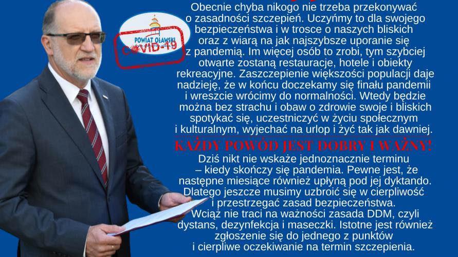 Starosta Zdzisław Brezdeń i jego wypowiedź dotycząca koronawirusa w powiecie oławskim.