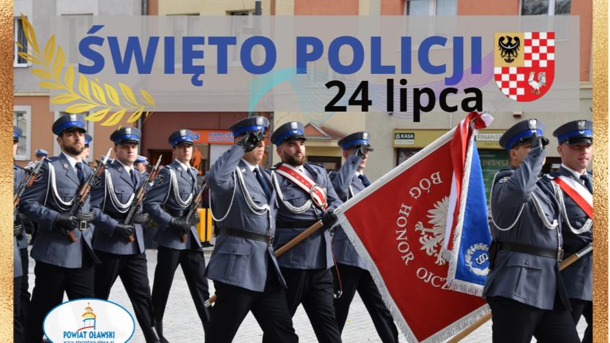 Poczet sztandarowy policjantów z KPP w Oławie.