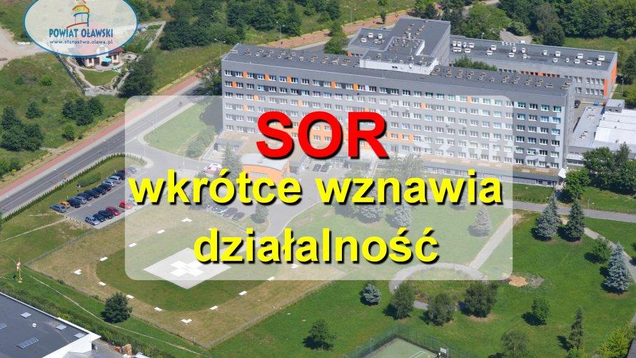 """Na zdjęciu widzimy szpital powiatowy z lotu ptaka. Na fotografii widnieje napis """"SOR wkrótce wznawia działalność""""."""