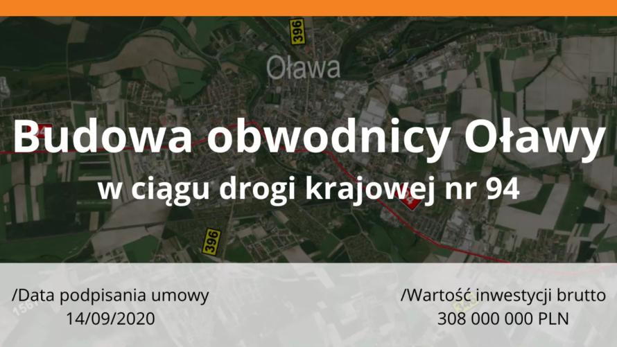 Napis budowa obwodnicy Oławy w ciągu drogi krajowej nr 94.