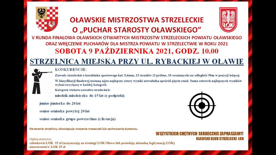 Plakat informujący o Otwartych Mistrzostwach Strzeleckich Powiatu, odbywających się 9 października o godz. 10:00 na strzelnicy miejskiej przy ul. Rybackiej w Oławie.