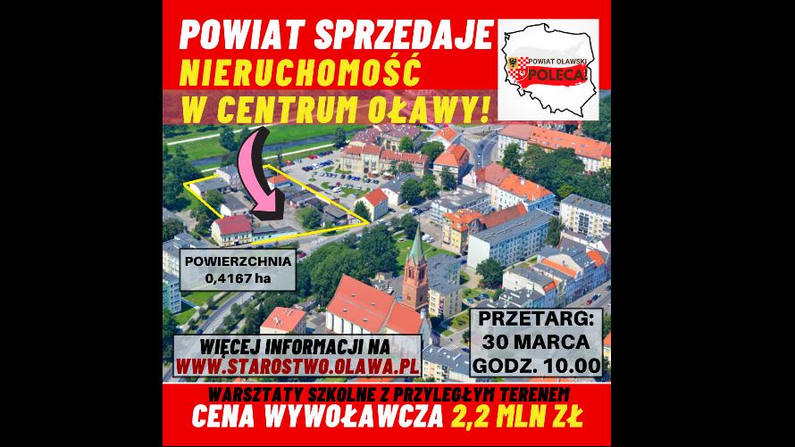 Widok centrum Oławy z lotu ptaka z zaznaczoną działką przeznaczoną przez Powiat do sprzedaży.